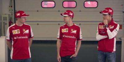 Esteban Gutiérre, Kimi Käikkönen y Sebastián Vettel, fueron los protagonistas del comercial. Foto:YouTube
