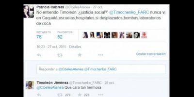 Patricia Cabrera, líder ganadera de Caquetá, región asolada por los crímenes de las FARC, lo criticó. A lo que este le respondió con un piropo. Foto:vía Twitter