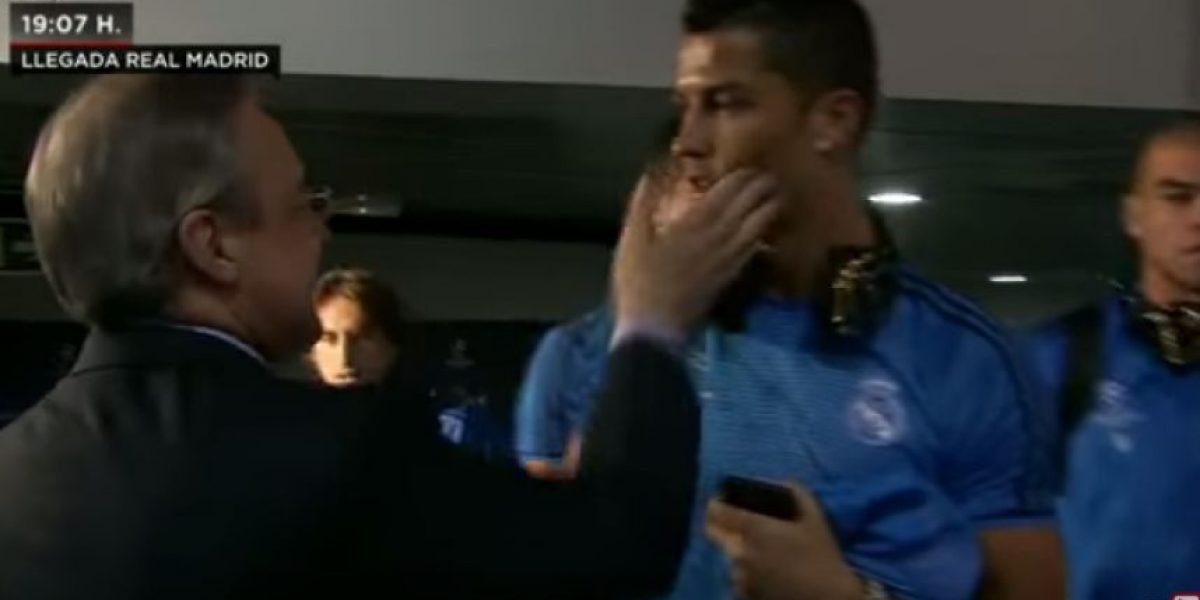 VIDEO. Florentino Pérez reclama y da un toque en el rostro a Cristiano Ronaldo