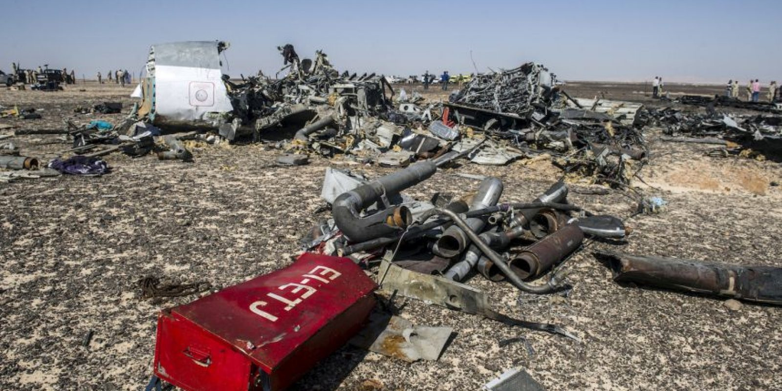 Escombros del avión ruso accidentado. Foto: AFP