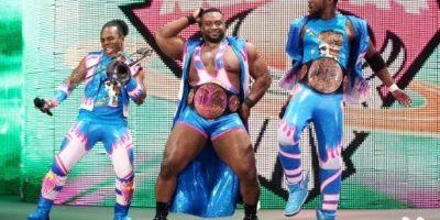 El trío formado por Kofi Kingston, Big E y Xavier Woods son buenos peleando, pero no tanto escogiendo su ropa. Foto:WWE