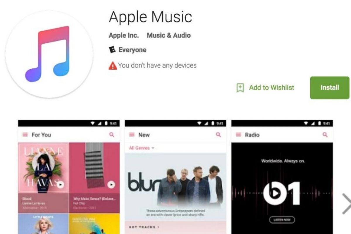 Apple Music ya disponible en Android. Foto: Google