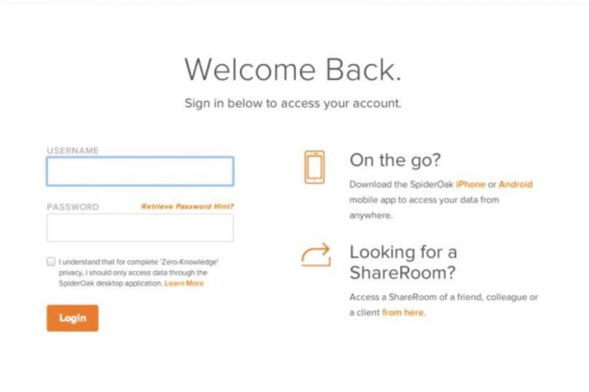 Spideroak es un sitio que donde pueden almacenar documentos con sólo abrir una cuenta. Foto:vía spideroak.com