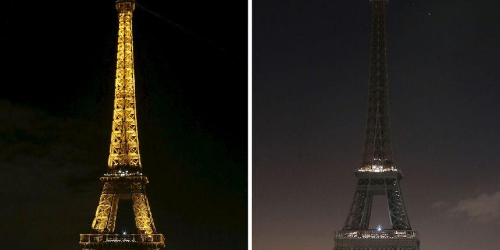 La Torre Eiffel se apagó en honor a las víctimas. Foto:AFP