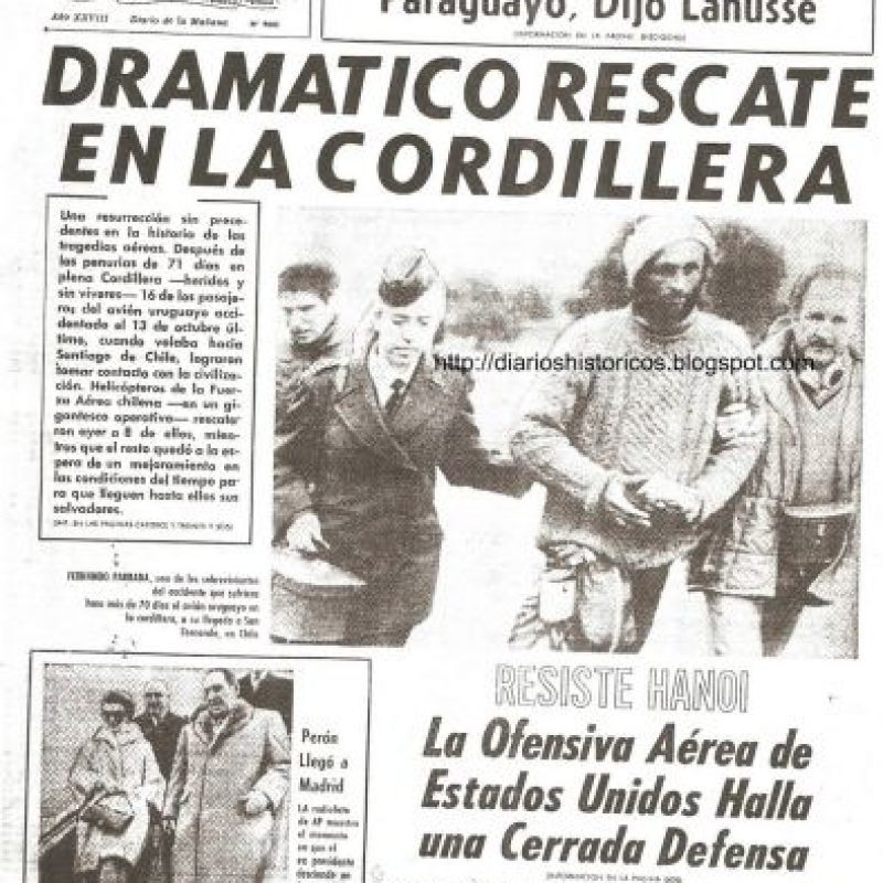 La caída, en la Cordillera de Los Andes, del avión que transladaba a deportistas uruguayos sucedió en este día. Foto:Wikimedia.org