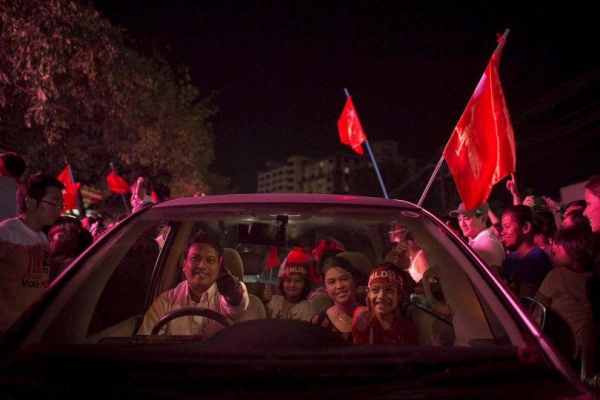 Caravana política en Myanmar. Foto:AFP