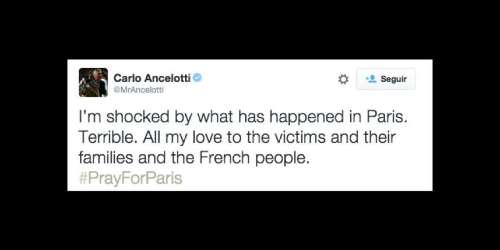 Carlo Ancelotti: Estoy impactado por lo que sucedió en París. Es terrible. Todo mi amor para las víctimas, sus familias y la gente de Francia. Foto:Vía twitter.com/mrsancelotti