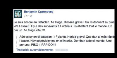 La descripción de uno de los supuestos testigos se hace viral. Benjamin Cazenoves describe que los están matando a todos. Foto:vía Facebook