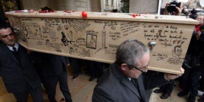 """Funeral de """"Charb"""", redactor en jefe de Charlie Hebdo. Foto:AFP"""