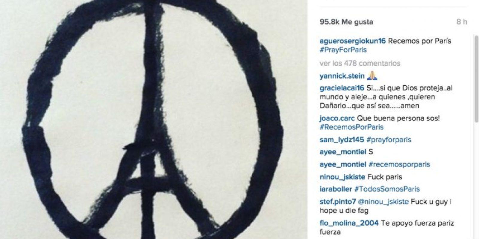 "Sergio ""Kun"" Aguero: Recemos por París. Foto:Vía instagram.com/aguerosergiokun16"