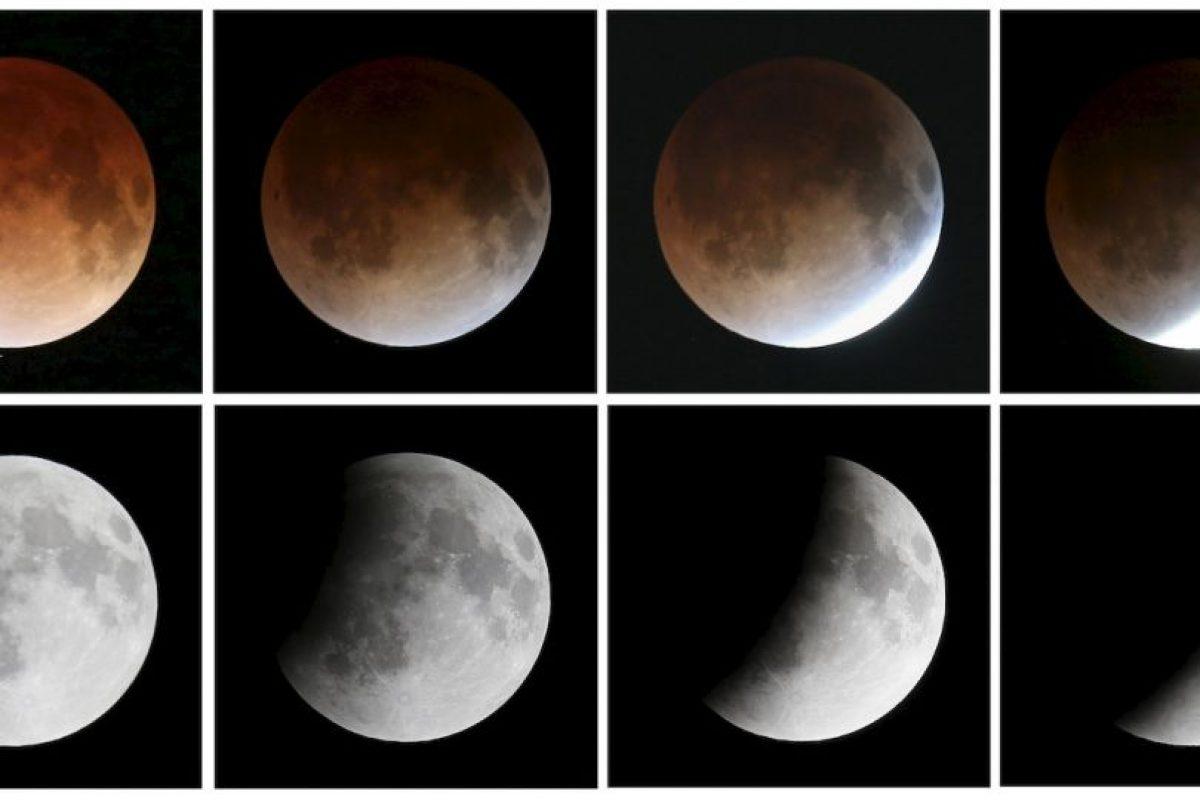 Los momentos en cuanto la luna se ve más roja es al inicio del eclipse y al final de éste. Foto:Getty Images