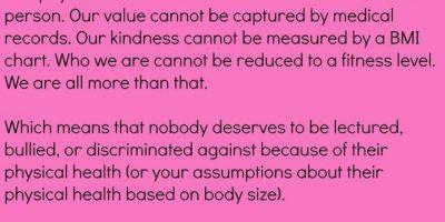 Y que la gente sigue con sus prejuicios, pero a una mujer no se le debería medir por el peso. Foto:vía Instagram/megancrabbe