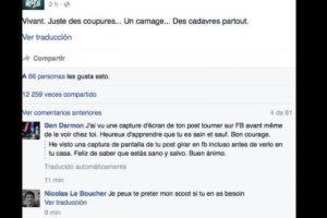 """""""Vivo. Todo es una carnicería"""", afirmó. Foto:vía Facebook/Benjamin Cazenoves"""