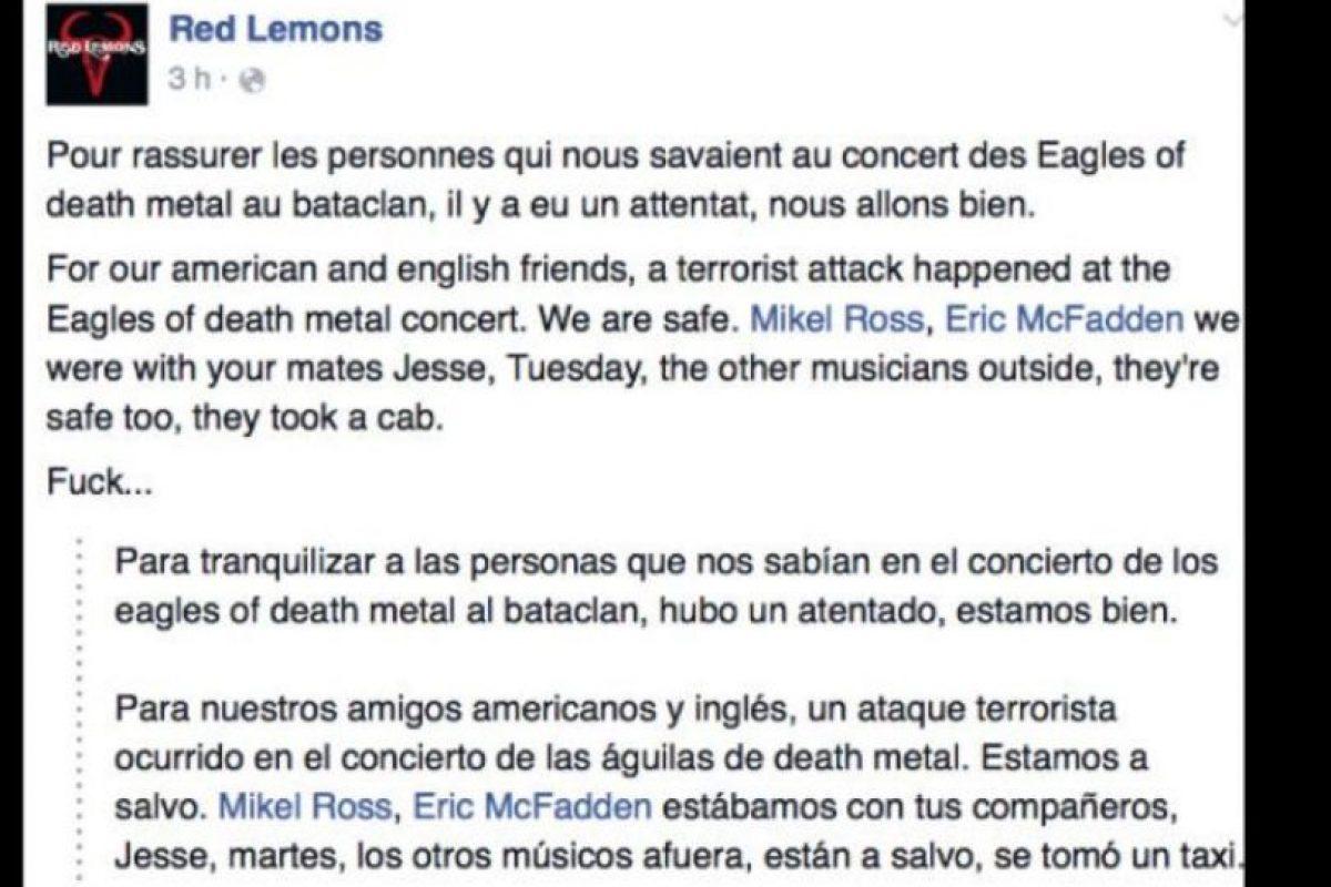 La banda Red Lemons, que tocaba precisamente ese día, afirmó que estaba bien. Foto:vía Facebook