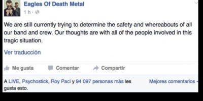 """Hubo preocupación por la banda """"Eagles of Death Metal"""", que preciso se fue a descansar cuando comenzó el tiroteo. Al final confirmaron que estaban bien. Foto:vía Facebook"""