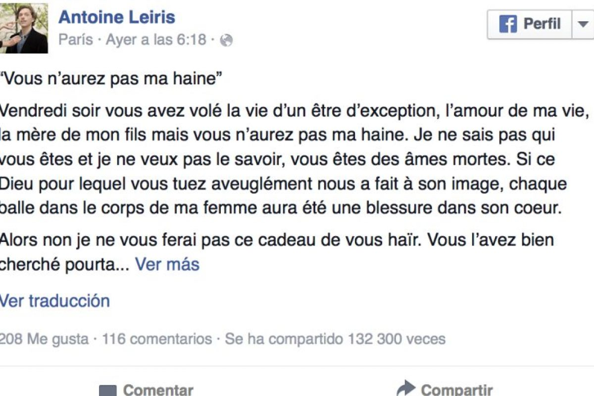 Leiris le prometió al ISIS no hacer a un lado su libertad por el miedo que intenta engendrar en sus compatriotas. Foto:Vía facebook.com/antoine.leiris