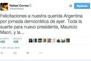Rafael Correa, presidente de Ecuador Foto:Twitter.com