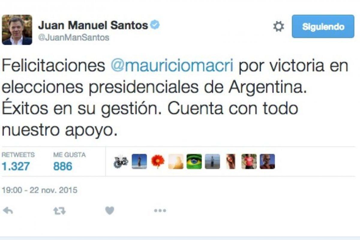 Juan Manuel Santos, presidente de Colombia Foto:Twitter.com