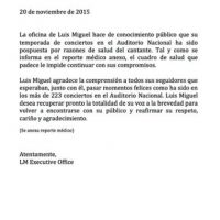 Por lo que las siguientes dos fechas pactadas en el Auditorio Nacional de la Ciudad de México fueron pospuestas. Foto:Facebook/LuisMiguel
