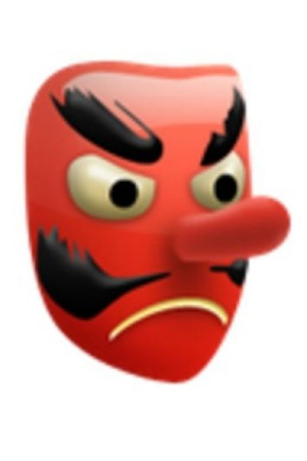 4- Es utilizado como el diablo, aunque solamente es una máscara japonesa de un duende. Foto:vía emojipedia.org