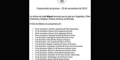 """Tras estos atropellados incidentes, """"El Sol"""" regresó a los escenarios en el Orfeo Superdomo en Córdoba, Argentina. Foto:Facebook/LuisMiguel"""