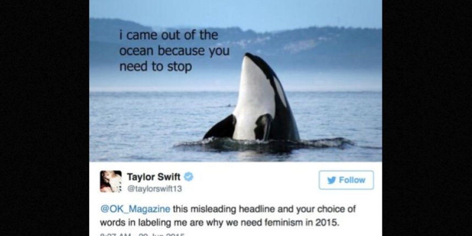 """8. Porque en redes sociales es la mejor. Cuando la revista """"OK! Magazine"""" sacó rumores sobre ella, les respondió: """"Por esto necesitamos el feminismo en 2015"""". Foto:Twitter/taylorswift"""