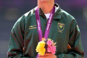 Medalla de plata en los 200 metros para hombres, en los Juegos Paralímpicos de Londres 2012 Foto:Getty Images