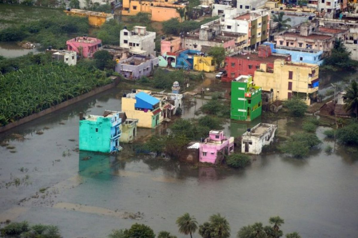 Las viviendas quedaron completamente bajo el agua. Foto:AFP