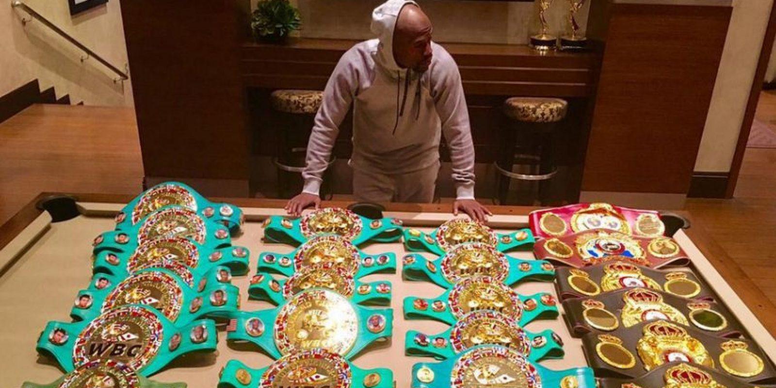 Los títulos que ganó durante su carrera como boxeador Foto:Vía instagram.com/floydmayweather