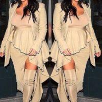 Y en los siguientes días comenzó a lucir prendas que disimularan su vientre Foto:vía instagram.com/kimkardashian