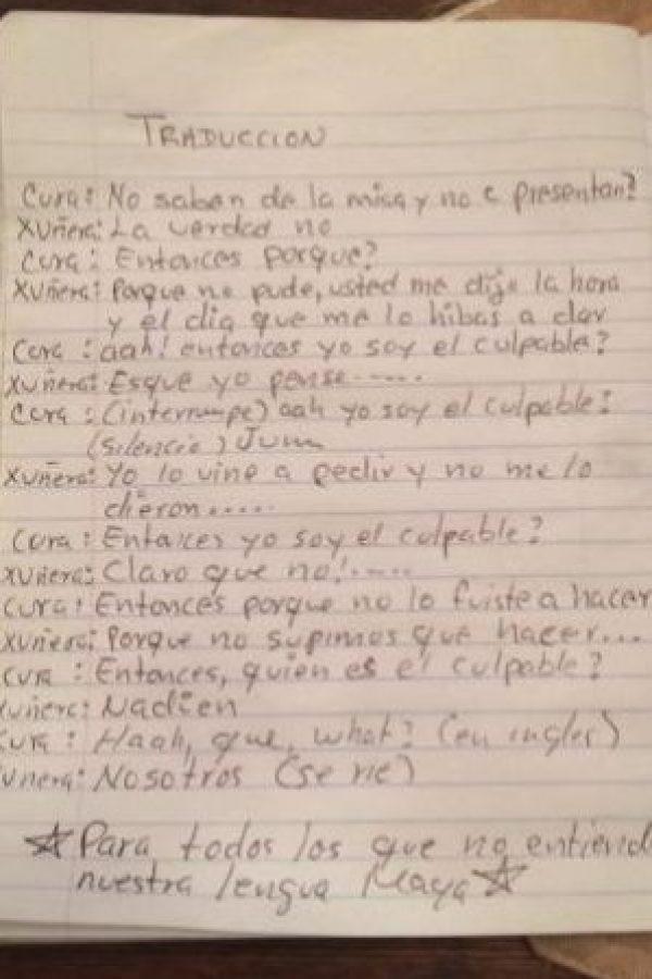 En redes sociales circula el supuesto diálogo que sostuvo el cura con la joven. Fue traducido del maya al español. Foto:Captura de pantalla