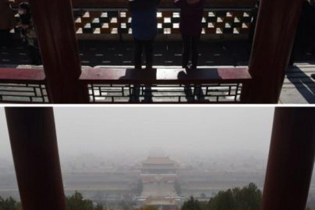 Antes y después, así luce Beijing con menos contaminación Foto:AFP