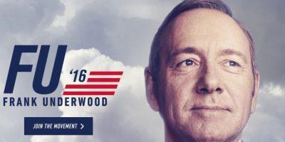 """El sitio oficial de """"Frank Underwood"""" es fu2016.com Foto:vía fu2016.com"""
