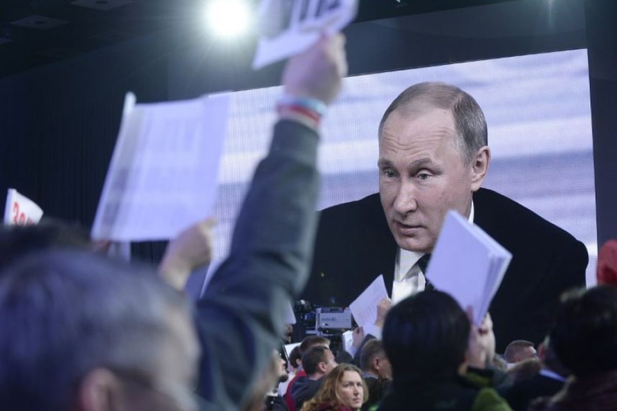 Vladimir Putin ofreció su conferencia de prensa anual en la que realiza un balance del año Foto:AFP