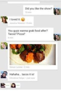 Permite integrar los mensajes SMS y MMS, es posible enviar imágenes GIF, llamar a usuarios, etc. Foto:Google Inc.