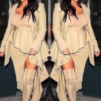 Y en los siguientes días comenzó a lucir prendas que disimularan su vientre Foto:Instagram/kimkardashian