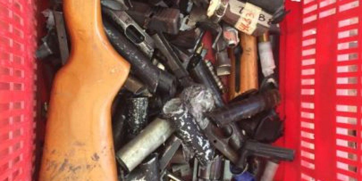 Con sierra el Ejército destruyó 91 armas consignadas a delincuentes