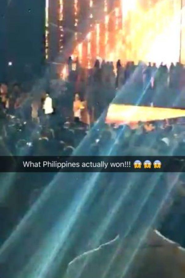 """¿Qué? En realidad ganó Filipinas"" Foto:Snapchat – Miss Universe"