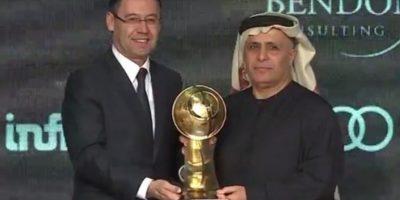El Barca recibe el Globe Soccer Award y Messi avanza para el Balón de Oro