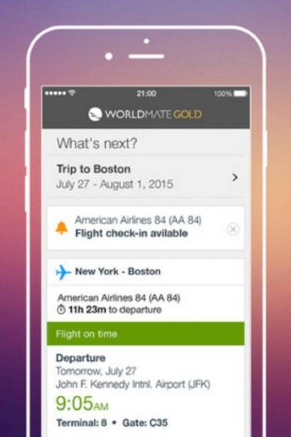 Organiza de manera automática sus viajes, les envía alertas de vuelo (hora de salida) y recomienda hoteles para reservar. Foto:WorldMate, Inc.