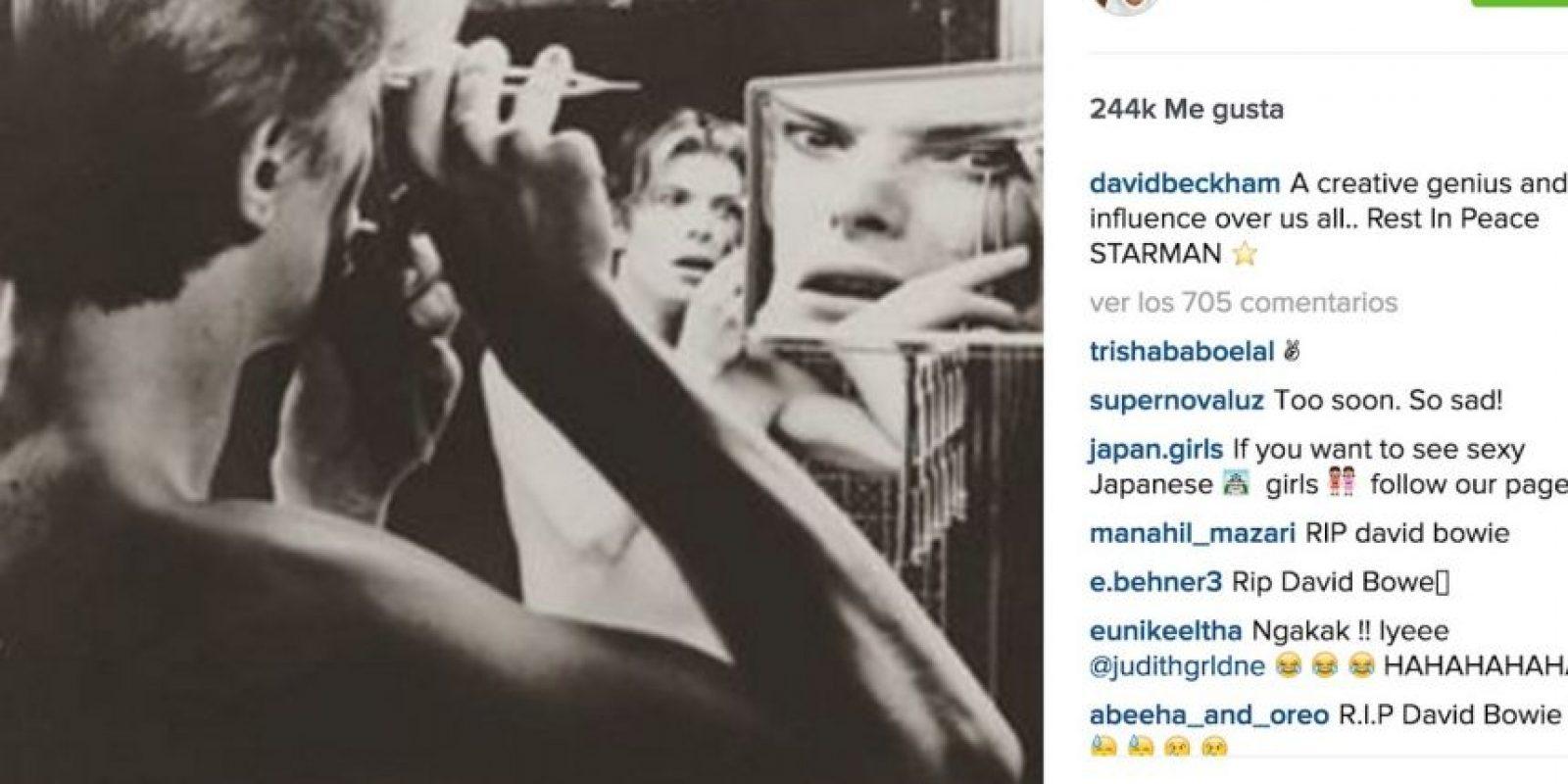 "David Beckham: ""Un genio creativo que nos influyó a todos. Descasa en paz Starman"" Foto:Instagram.com"