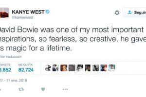 """Kanye West: """"David fue una de las más importantes inspiraciones para mí. Tan valiente, creativo, nos dio magia para toda la vida"""". Foto:Twitter.com"""