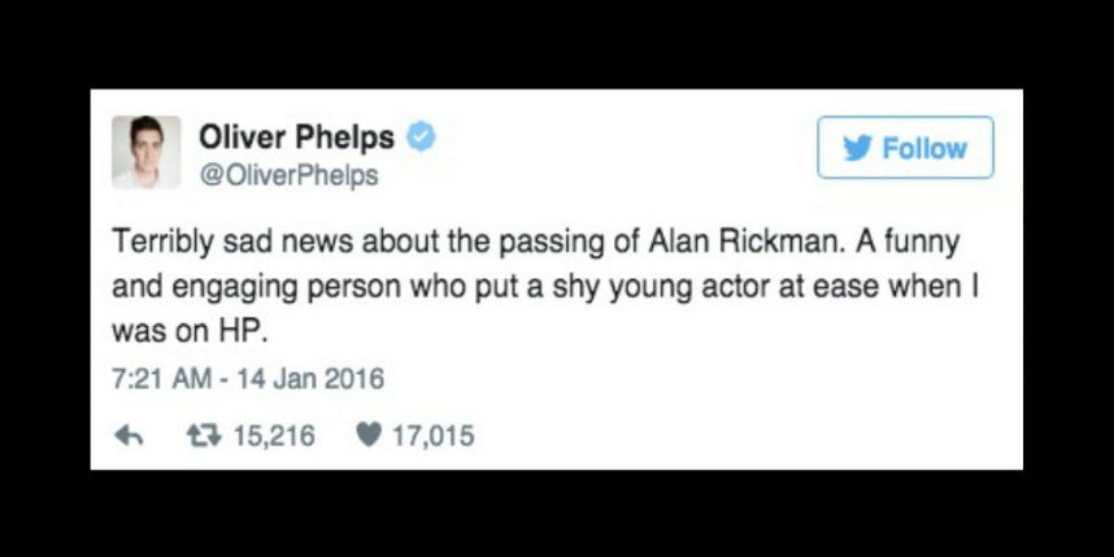 """""""Entristecido por la muerte de Alan Rickman. Él fue una persona que tranquilizó a un tímido actor cuando estaba en 'Harry Potter"""