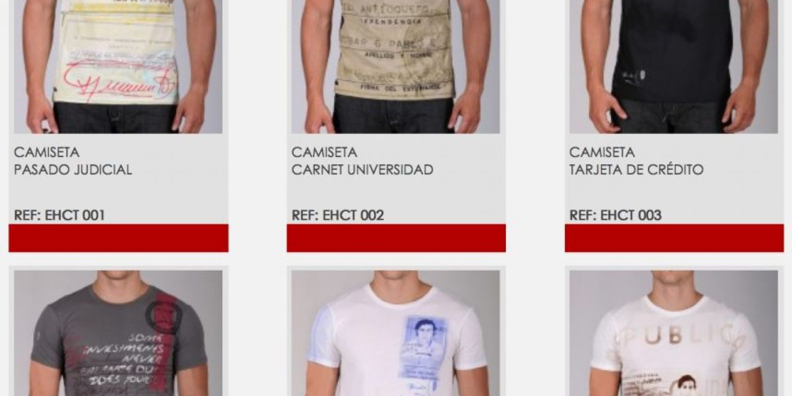 Las prendas tienen un costo de 60 a 95 dólares y se pueden adquirir en iIternet. Foto:Vía escobarhenao.com