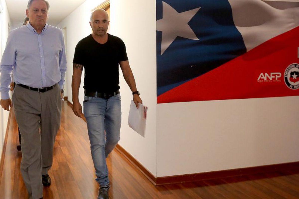 Jorge Sampaoli y el presidente de la Asociación Chilena de Fútbol. Foto:AFP