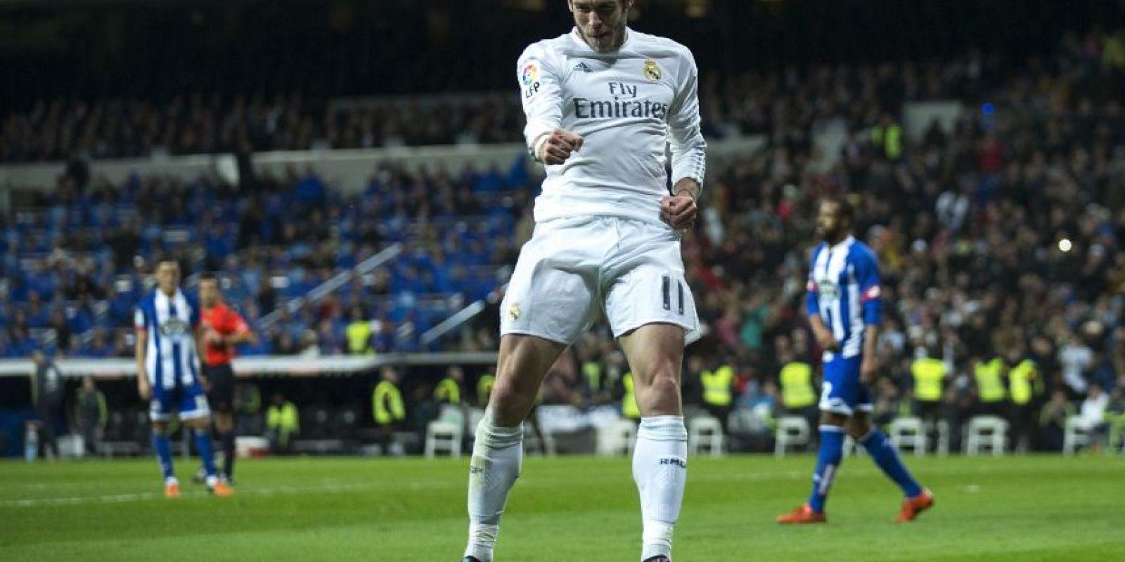 Una peculiar celebración de Gareth Bale. Foto:AFP