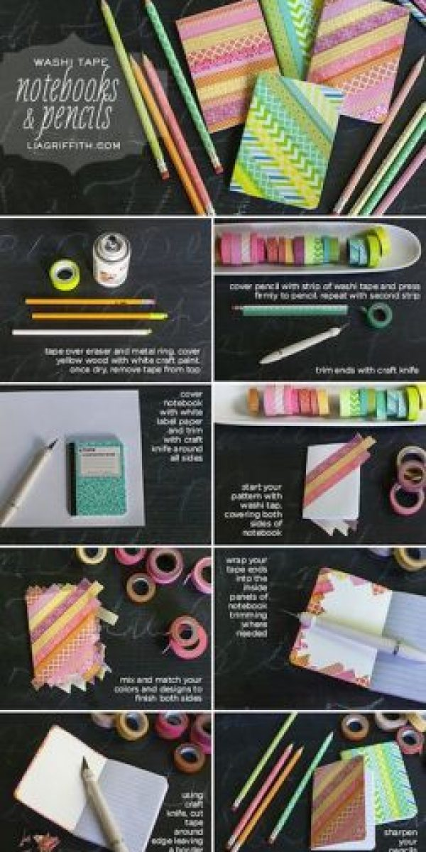 Utiliza tape con diseños y dale un estilo chic a tus cuadernos Foto:Pinterest.com