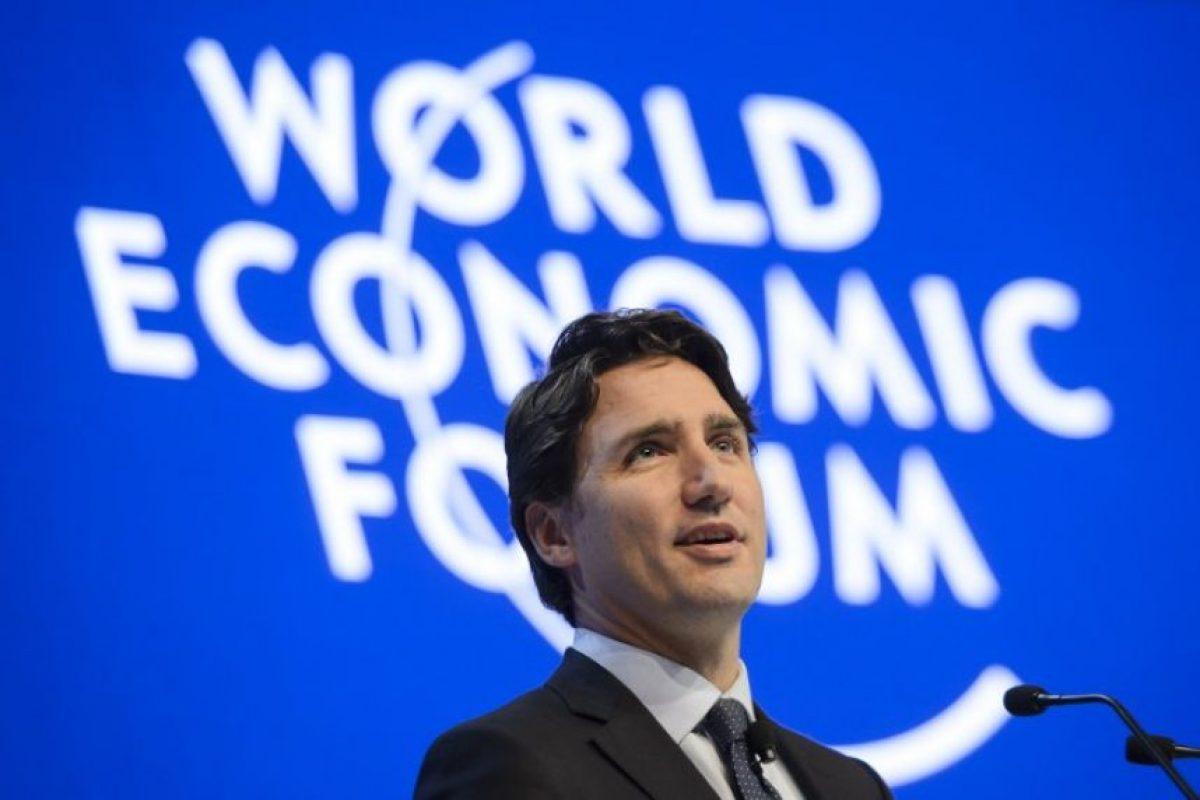 El primer ministro canadiense, Justin Trudeau, fue de los primeros en participar en el Foro. Foto:AFP