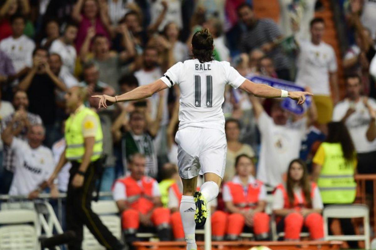 Gareth Bale celebra con todo su anotación. Foto:AFP