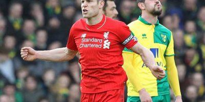 James Milner celebra un gol contra el Norwich. Foto:AFP